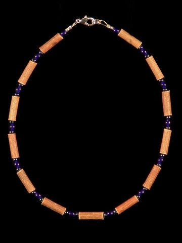 Teething Hazelwood Necklace with Cobalt Blue glass beads