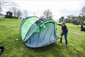 Our new 2 man tent is the largest 2 man pop up tent in the world. The tent is big enough for up to two people, with two doors and loads of extra storage. Cinch!