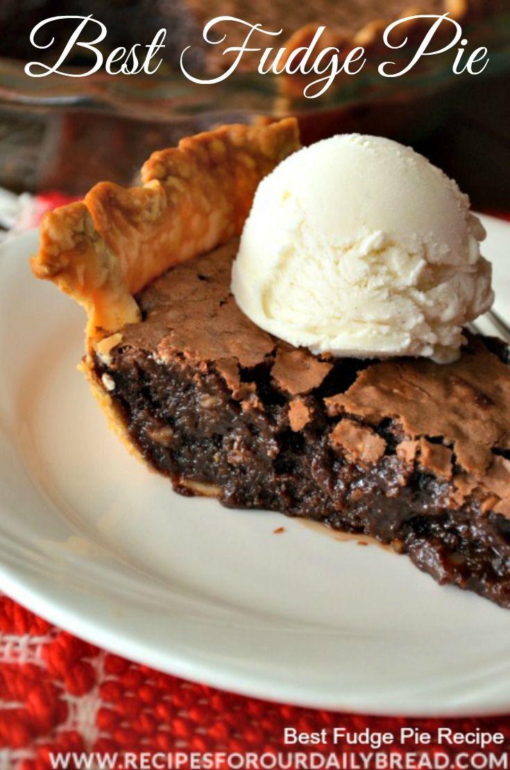 Best Fudge Pie - YUM! - Hands down my favorite pie!  Creamy, dreamy, chocolatey, and easy to make.