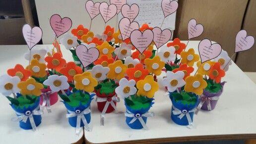 Keçeden anneler günü çiçekleri