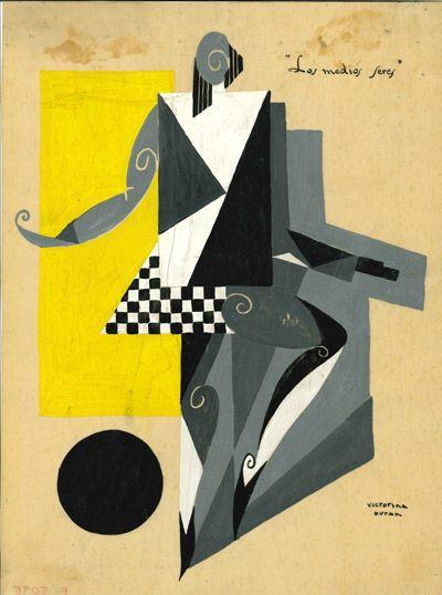 Victorina Durán, figurín para «Los medios seres», hacia 1929. Acuarela sobre cartón, 32,5 x 24,5 cm. Museo Nacional del Teatro, Almagro.
