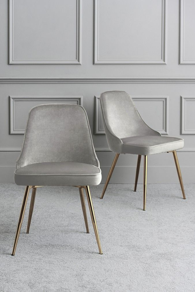 Next Set Of 2 Skyla Dining Chairs With Chrome Legs Grey Fabric