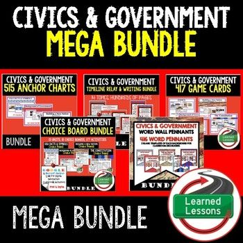 This CIVICS and GOVERNMENT MEGA BUNDLE includes EVERYTHING you will need to plan for an engaging year in your CIVICS or GOVERNMENT classroom!  U.S. Facts and Symbols-Guided Notes, Power Points,  and Resources Pages-Anchor Charts (Great For Bell ringers, Word Walls, and Bulletin Boards)-I Have, Who Has Game Cards (Great for Test Review)-Sequencing Relays, Research, and Writing (ELA Cross Curriculum)--UPDATED FOR PAPER AND GOOGLE DRIVE -Choice Boards (Activities and Templates for…