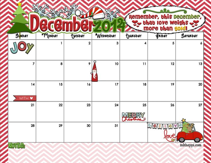 December Christmas Calendar 2014   And for the December 2014 Calendar – without Christmas