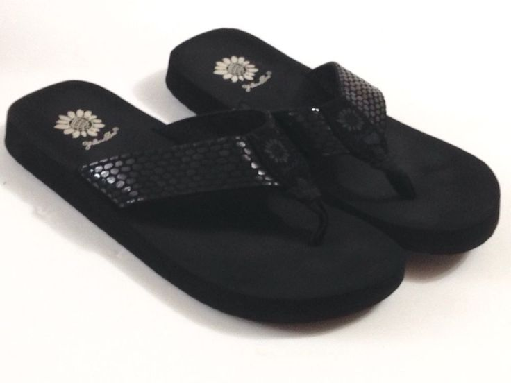 Yellow Box Flip Flops Thongs Sandals Shoes Black SZ 8 #YellowBox #FlipFlops #Casual