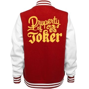 Joker's Golden Property | This fun and cute letterman jacket is the perfect Halloween costume if you want to be Harley Quinn this year. This 'Property of the Joker' jacket will complete your costume. Match this costume with the Suicide Squad Joker to show off your fandom.