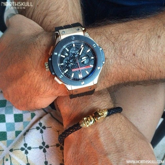 Fan Instagram Pic ! | @Drmohacsy Posted A Cool Photo Of His Hublot Big Bang Luna Rossa Watch Along With Our Black Nappa Leather & 18kt. Gold Twin Skull Bracelet | Available now at Northskull.com | For A Chance To Get Featured Post A Cool Photo Of Your Northskull Jewelry With The Tag #Northskullfanpic On Instagram