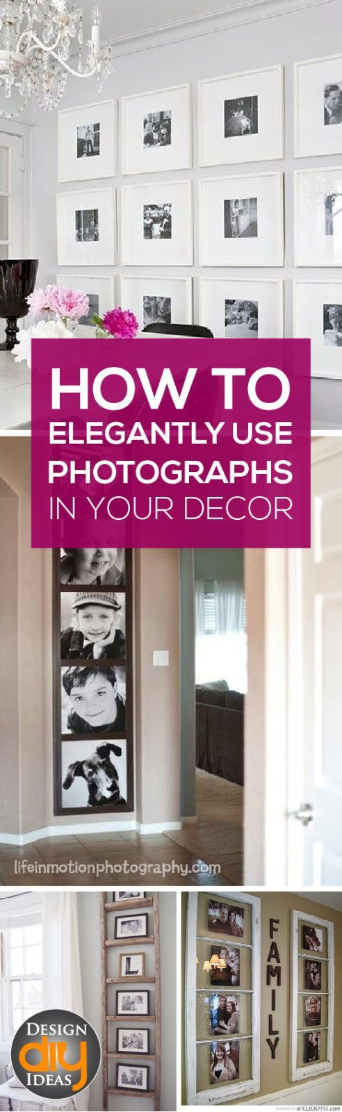 How to Elegantly Use Photographs in Your Decor - Design DIY Ideas-The key with decorating with photographs is to be intentional. Here's a few tips and tricks to make your family photos a work of art.