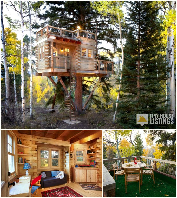 Small House Home Exterior Design: A Custom Treehouse With Rooftop Deck Used As Guest