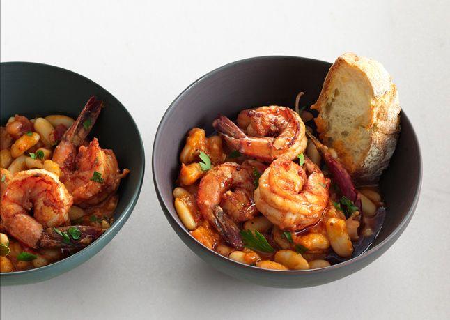 Garlic Shrimp and White Beans: Garlic Shrimp And White Beans, Quick Recipes, Seafood, White Beans Recipes, Bon Appetit, Dinners, Garlic Prawn, Mr. Beans, Delicious Food