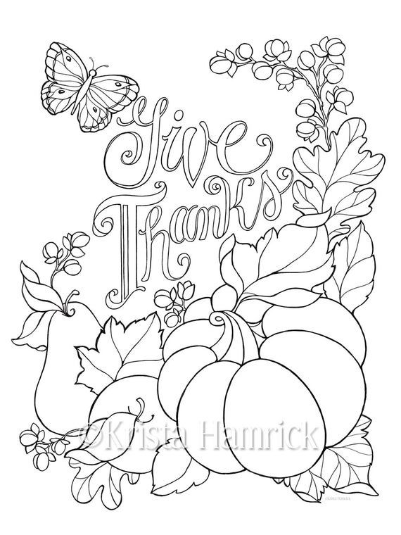 Give Thanks Coloring Page In Two Sizes 8 5x11 And Bible Etsy Fall Coloring Pages Thanksgiving Coloring Pages Bible Coloring Pages