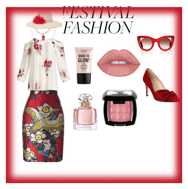"""#festivalfashion"" by rawal-sadhana on Polyvore featuring Dsquared2, Joie, NYX, Guerlain, L.K.Bennett, Thierry Lasry and Eugenia Kim"