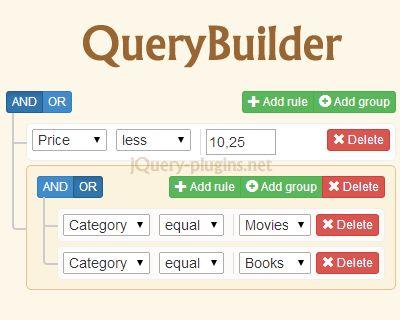 QueryBuilder – jQuery Plugin to Create Complex Queries  #jQuery #Query #builder #SQL #NoSql #QueryBuilder #filter
