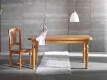 Mesa de comedor rectangular fija, con patas torneadas, fabricada de madera de pino maciza
