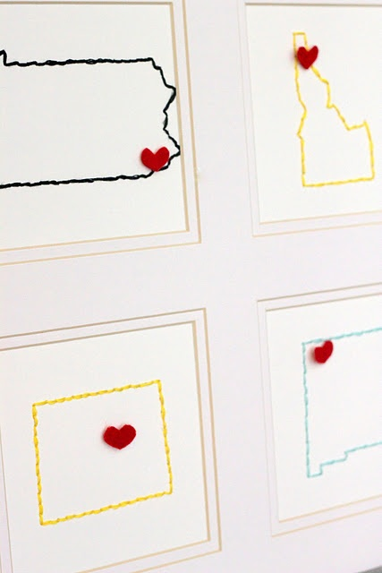 DIY state embroideryWall Decor, Embroidered States, Gift Ideas, States Embroidery, Embroidered Wall, Diy Embroidered, Kojo Design, Christmas Gift, Felt Heart