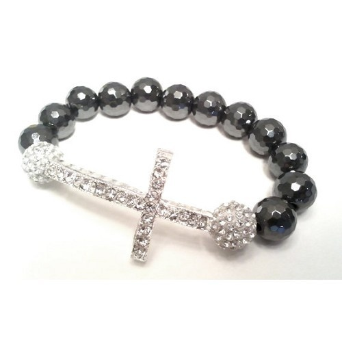 Faceted Hematite Sideways Cross Bracelet
