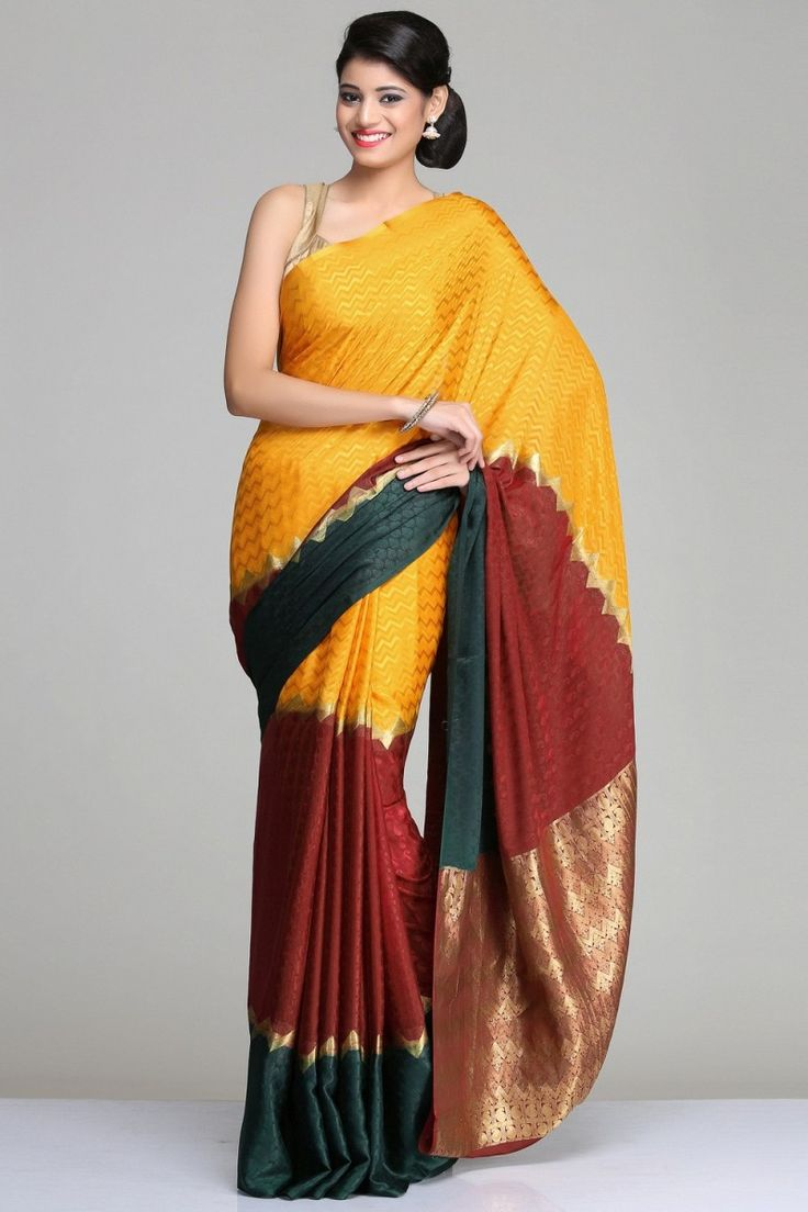Self-Patterned Multicolored Mysore Silk Saree With A Maroon, Yellow & Mustard Horizontal Panels And Gold Zari Stripes & Pallu
