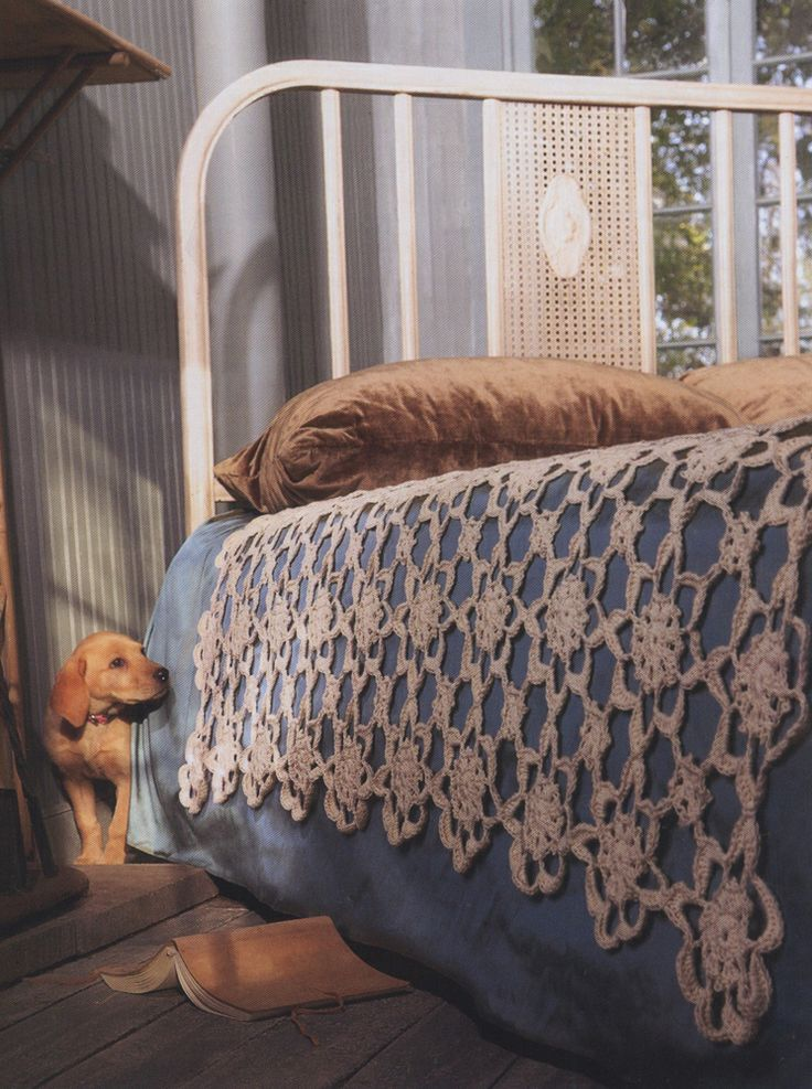 """Crochet+Coverlet+from+Blue+Sky:+•+Blue+Sky+Skinny+Cotton+(65+g/150+yds);+16+hanks  •+Size+G/6+(4+mm)+crochet+hook,+or+size+needed+to+obtain+gauge  Photo+Shown:+Birch+#30    Size  Fits+a+twin+size+bed+with+generous+drape+over+sides+of+the+bed.  60""""+x+60""""    Gauge  Each+Flower+Motif+=+6""""+diameter  +$8.75"""