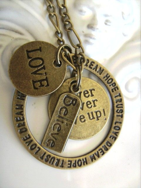 hope dream love never never give up inspirational necklace bronze tone necklaces
