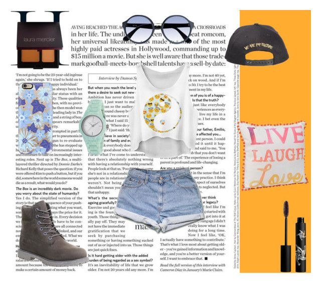 """""""Gotta Find You"""" by wild-young-free-thrilled ❤ liked on Polyvore featuring Timberland, Rouge Bunny Rouge, Casetify, Laura Mercier, RetroSuperFuture and Clyda"""