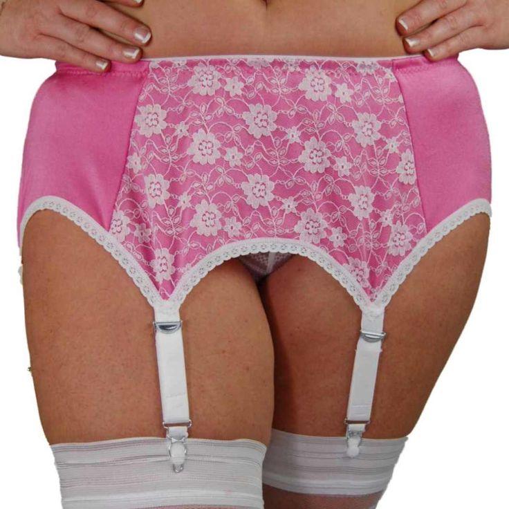 Premier Lingerie 6 Strap Garter/Suspender Belt (SSL66 )Pink with White Lace.