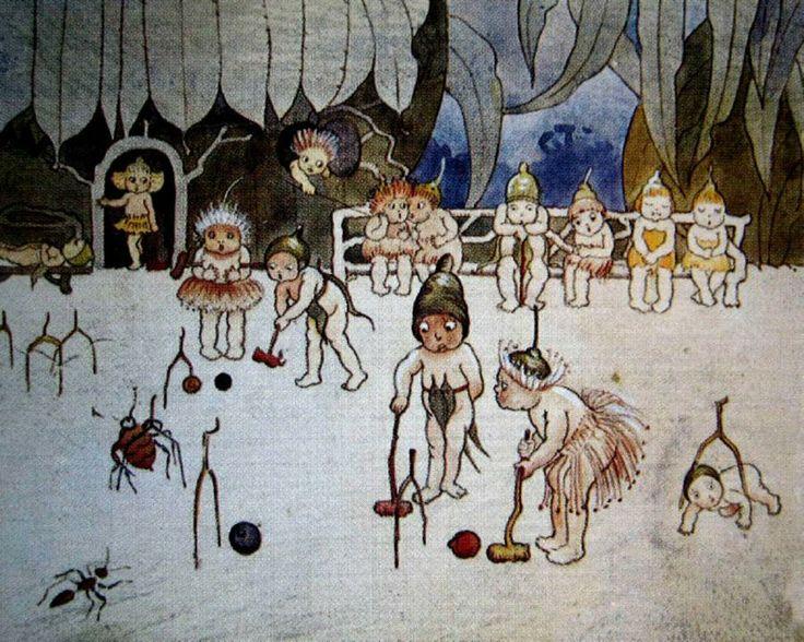Gumnut Children Playing Croquet