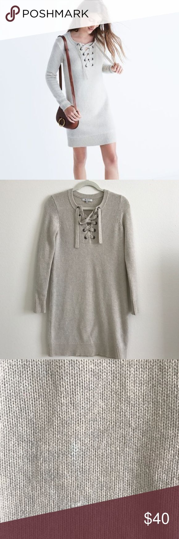 Madewell lace up sweater dress in cream size XXS This sweater dress was worn once on Christmas. I never reached for it again because it's a bit heavy for Southern California weather. It's a size XXS but fits a XS much better. There is a small blemish that I pictured in photo 3. It's not noticeable but I think it can be removed with dry cleaning. Price already reflects cost to dry clean if purchaser wishes to! Madewell Dresses
