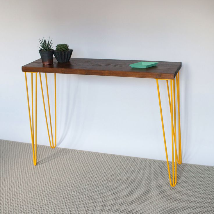 Romy Console Table  Hairpin legs  Industrial  Mid Century Modern Style  Reclaimed  Wood  Eco Friendly