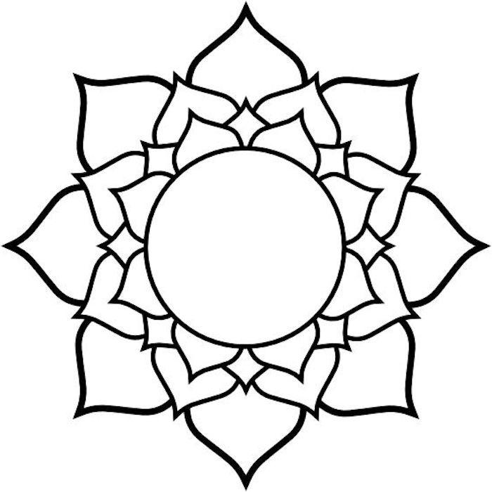 Ausmalbilder Mit Mandala Blumen Ein Bild Mit Einer Grossen Weissen Blume Mit Schwarzen Und Weissen Blatte Lotusblute Zeichnungen Lotusblume Kunst Blumenzeichnung