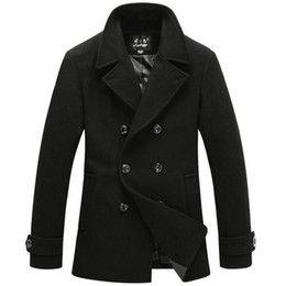 Chaquetón de lana negro en venta-Estilo británico hombres trench coat hombres de largo doble breasted chaqueta de lana de la marca diseñados al aire libre abrigo de guantes de lana sobretodo negro