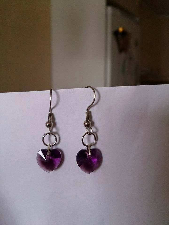 Amethyst violet swarovski heart earrings