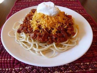 two of my favourite things - chilli + spaghetti!