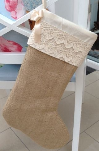 vintage christmas stocking made from good quality hessian and cotton lace available here http://www.ebay.co.uk/itm/Handmade-Hessian-Burlap-Christmas-Stocking-/310791532593?pt=UK_Health_Beauty_Make_Up_Cosmetics_Lip_Gloss_PP&hash=item485c9e7031