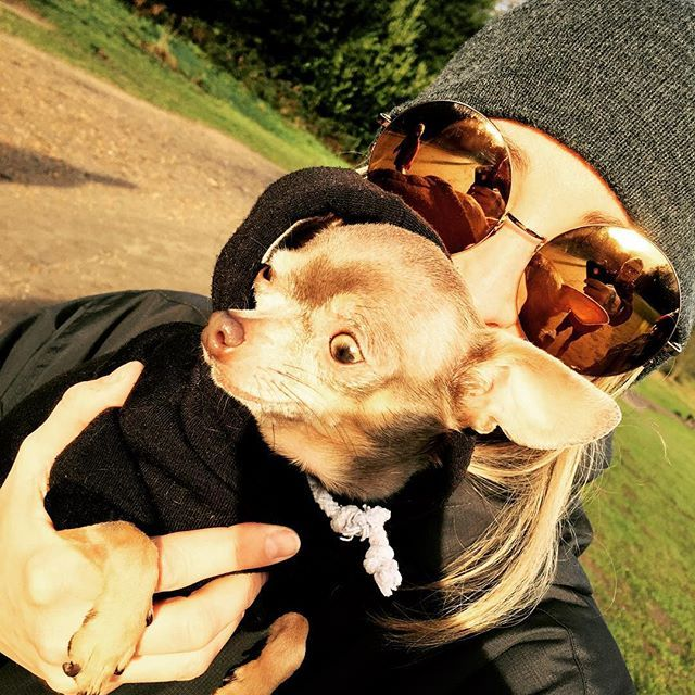 Natalie Appleton and her pet Chihuahua in a cute dog hoodie!