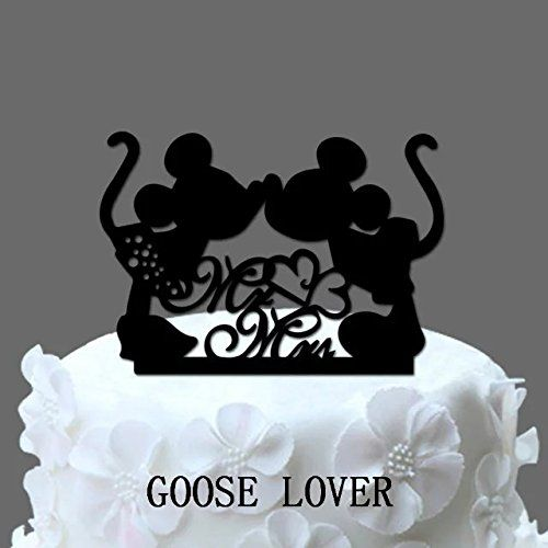 GOOSE LOVER(TM) 2 Mice Silhouette Cake Topper, Mr And Mrs Wedding Cake Topper With Heart Decor, Cartoon Wedding Cake Topper -- Unbelievable  item right here! : Bakeware