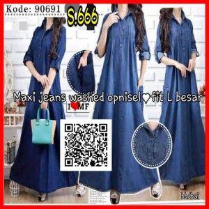 baju-baju maxi dress-terbaru-modern-bahan-jeans-s666