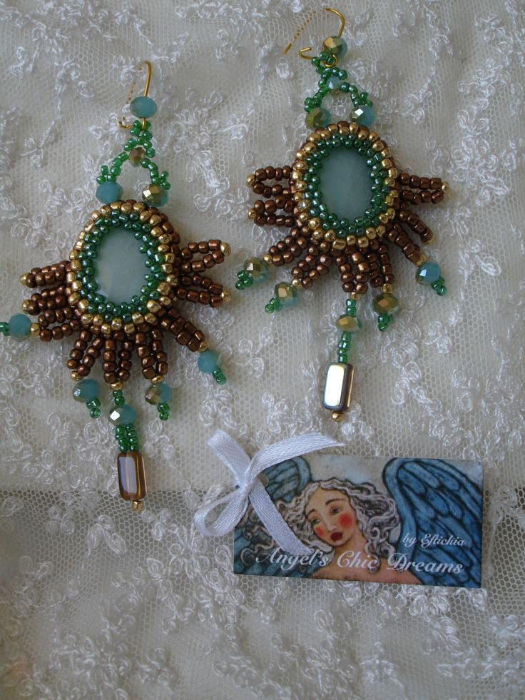 Earrings with crystals and beads