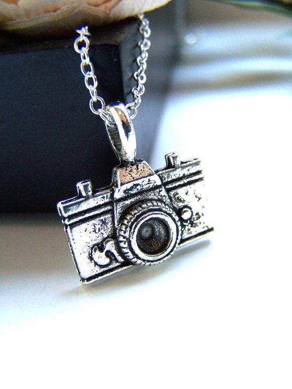 "Petite Silver Camera Necklace - Antique Silver Camera Charm, Photography, Lead Nickel Free, 19"" Silver Chain, 20mm"