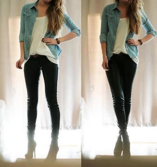 #look basico #camisa jeans #skinny