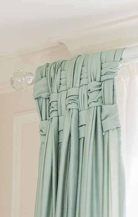 Woven drapes - I love this! cool way to add detail to a room. Could add glass doorknobs to the end of the drapery rod in place of these. http://boston.houzz.com/photos/9631160/Brownstone-Makeover-transitional-boston