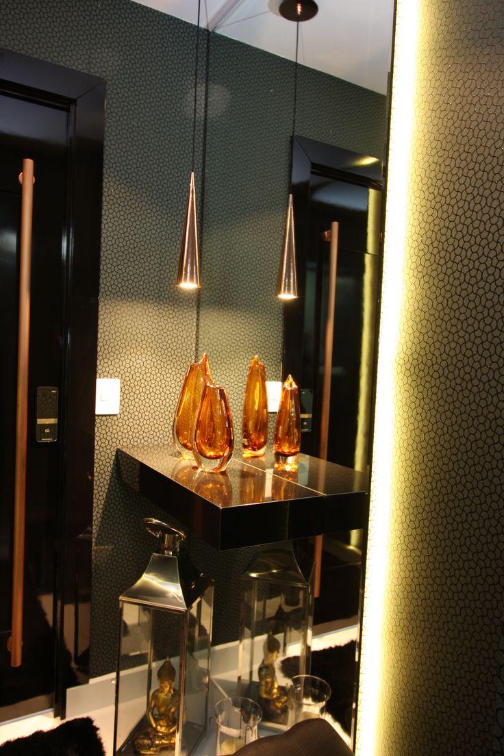 hall, hall elevador, iluminação, inspiração decoração. Projeto de Arquiteta Cristiane Vassoler