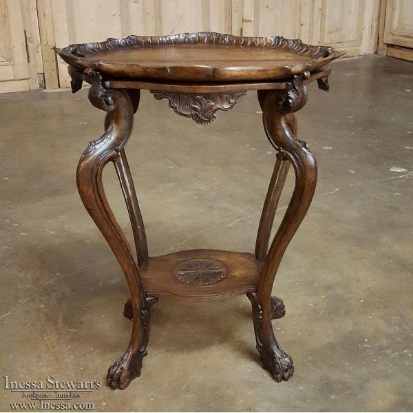 Antique Furniture | Antique Occasional Tables | End Tables | Antique Italian Walnut Baroque Tea Serving Table | www.inessa.com