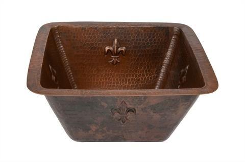 381mm Square Fleur De Lis Copper Bar/Prep Sink w/  51mm Drain Size