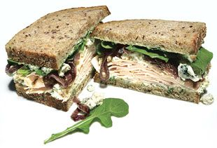 Smoked Turkey, Blue Cheese, and Red Onion Sandwiches: Quick Recipes Recipe: bonappetit.com