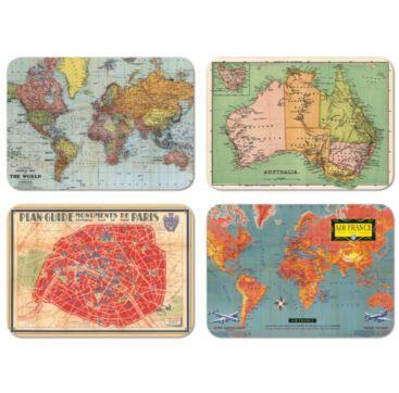 Magnets - Maps Tin 24 - Bobangles #Cavallini #vintage #map #world #magnets #gift #stationery