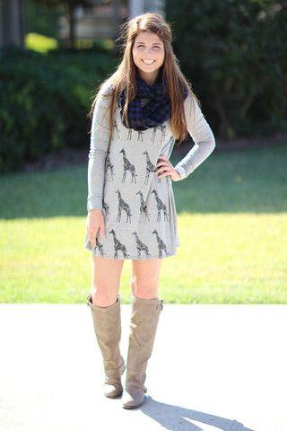 Giraffe Tunic Dress - Heather Grey