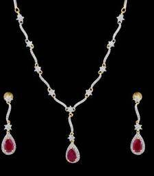 Beautiful cz stone studded necklace set