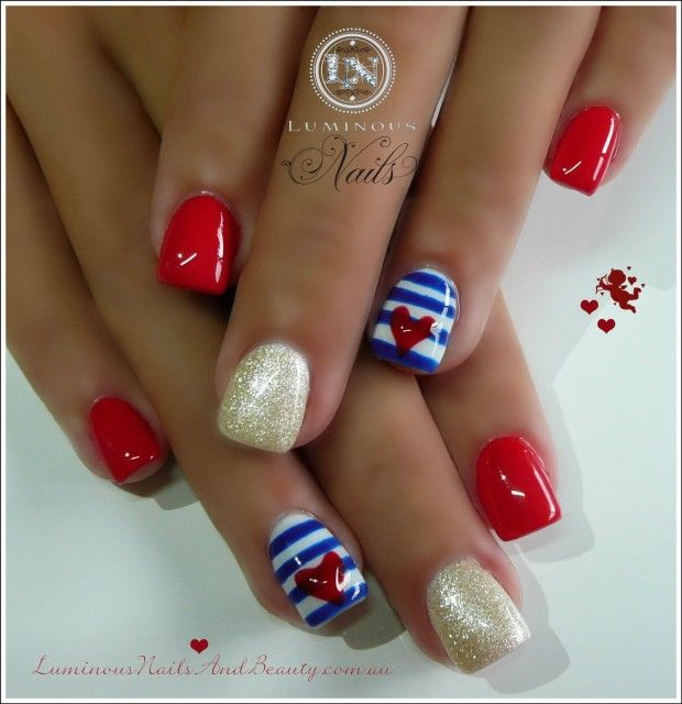 Luminous Nails: Cute Sailor Nails in Red, Gold, Blue White Gel. - 96 Best Nails - Red White And Blue Images On Pinterest July 4th
