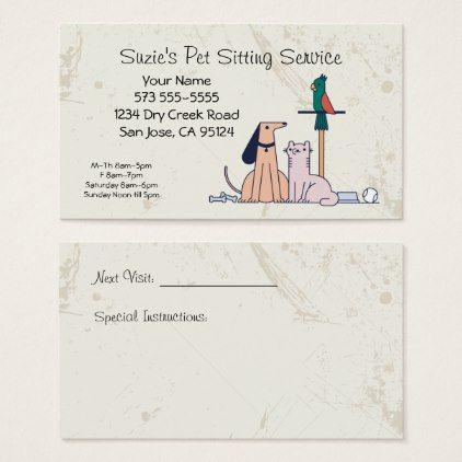 #Dog Cat Bird Pet Sitting Service Business Card - #Petgifts #Pet #Gifts #giftideas #giftidea #petlovers