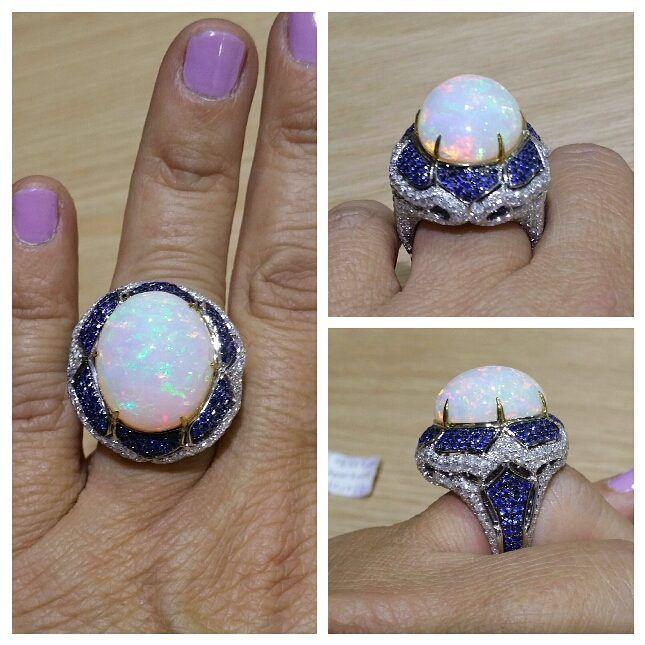 #sapphireblue #opal #ring #ringfinger #bluesapphire #braceletes #18kt #whitediamond #diamond #peaceful #worldstar #royal #nyc #jewelry #artdesign #call #2128699747